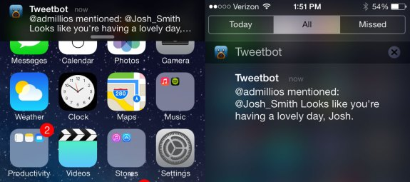 New notification banner in iOS 7.