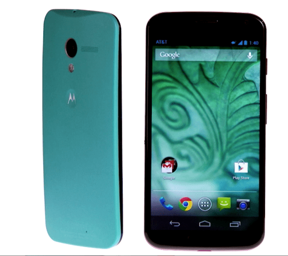 The Moto X design features curves and colors.