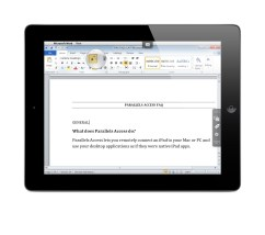 Parallels Access Magnifying Glass in Windows Word 2010 on iPad