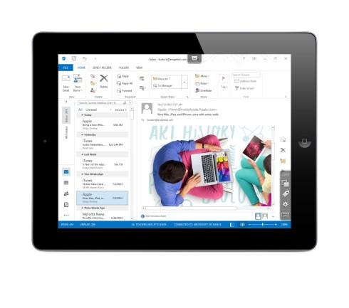 Parallels Access on an iPad accesing Windows Outlook 2013 on a PC