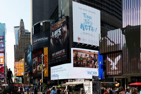 The Galaxy Note 3 is being marketed in the U.S. already.
