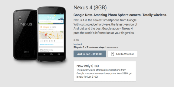 The Nexus 4 8GB is now $199 unlocked.