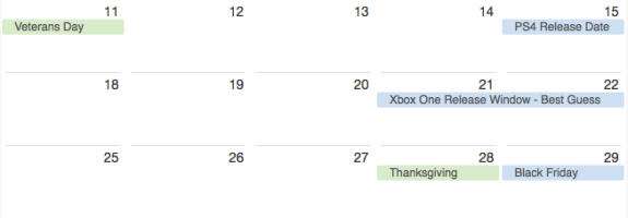 Sony, Holidays and retailer plans limit possible Xbox One release dates.