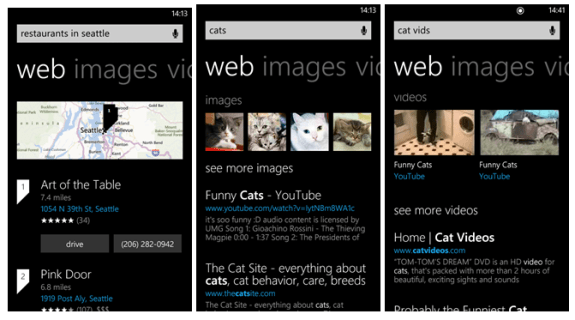 The slightly updated Bing on Windows Phone 8.