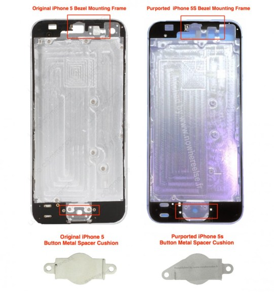 The alleged iPhone 5S back shown above sports a new design that could accommodate a fingerprint reader.