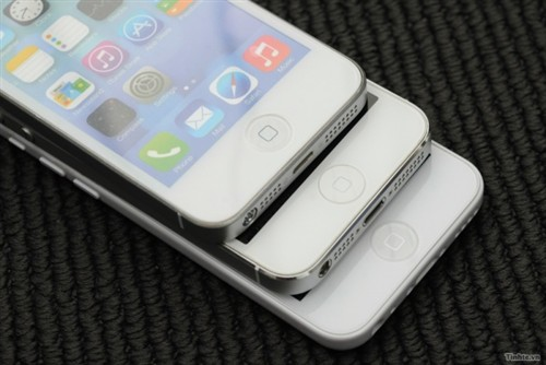 An iPhone 5S mockup shows a similar home button design.