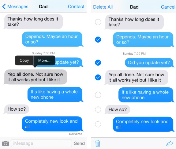 how to delete saved imessages on ios