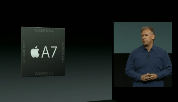 The iPhone 5S is powered by a new 64-bit Apple A7 processor.