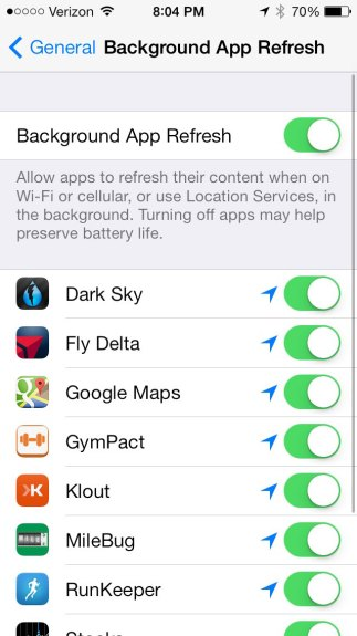 Apps can refresh in the background with iOS 7, so you won't need to wait for updates after opening an app.