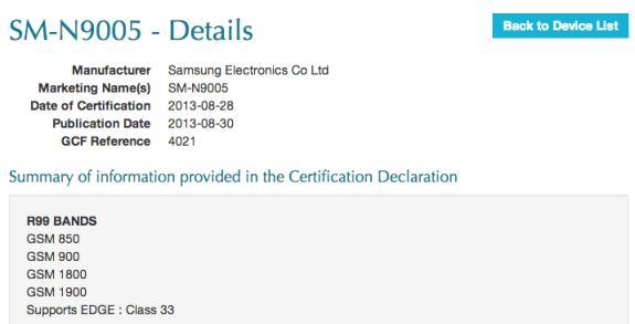 Listing for what is likely the Samsung Galaxy Note 3 LTE.