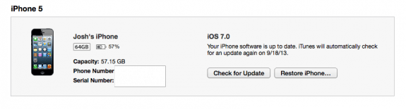 Click Check for update to upgrade to iOS 7.