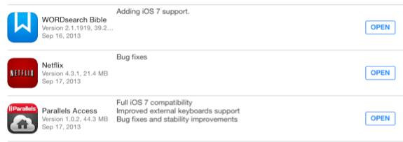 ios 7 app updates