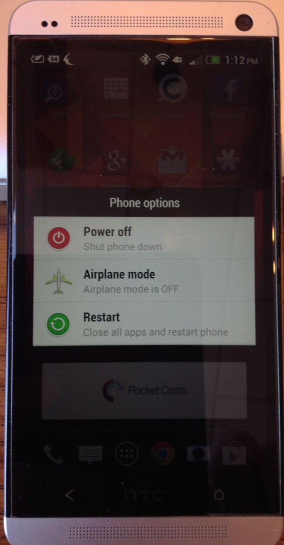 htc one power off menu