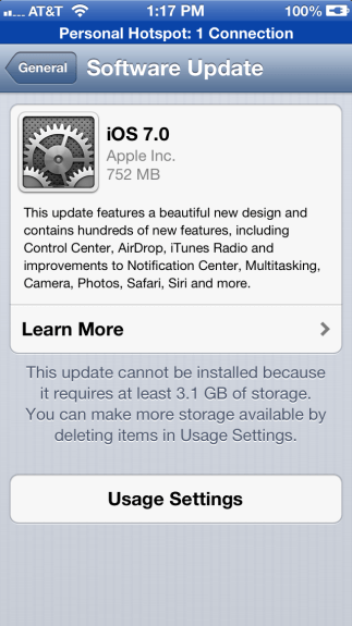 The iOS 7 update error for not enough storage.
