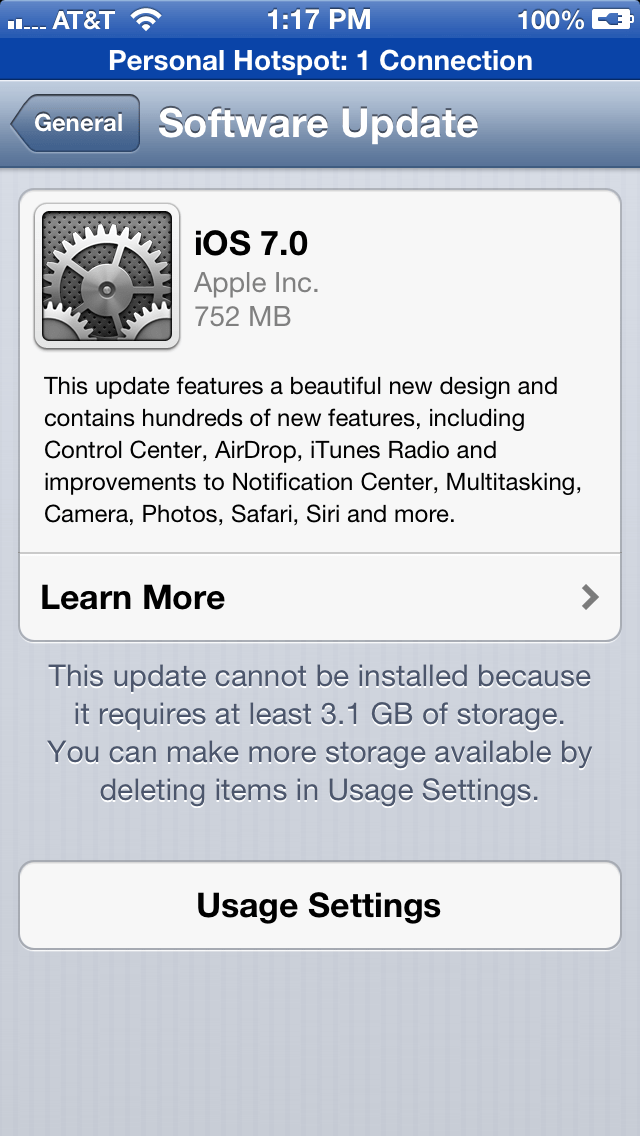 iOS 7 Update Storage Issues Strike