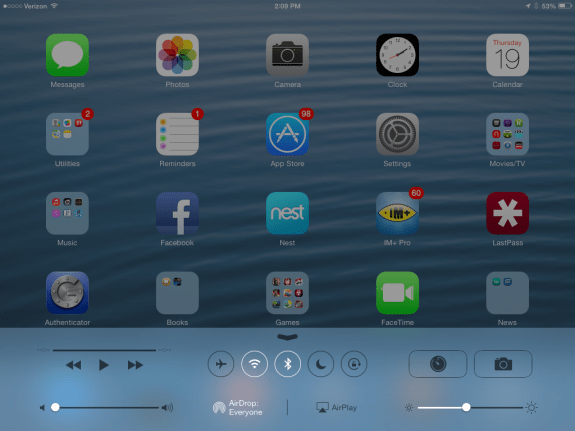 Fast access to iPad mini settings in Control Center on iOS 7.