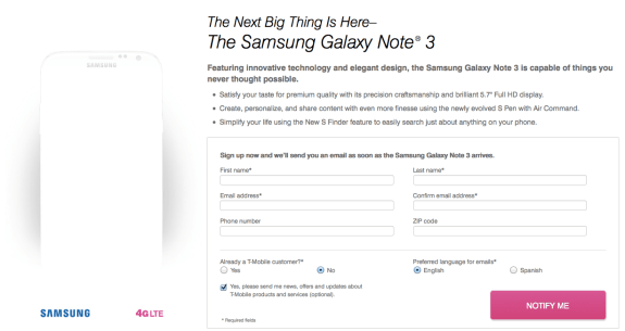 The T-Mobile Galaxy Note 3 signup page is now live.