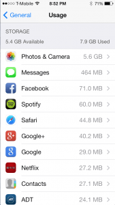 iPhone 5s and iOS 7 available storage