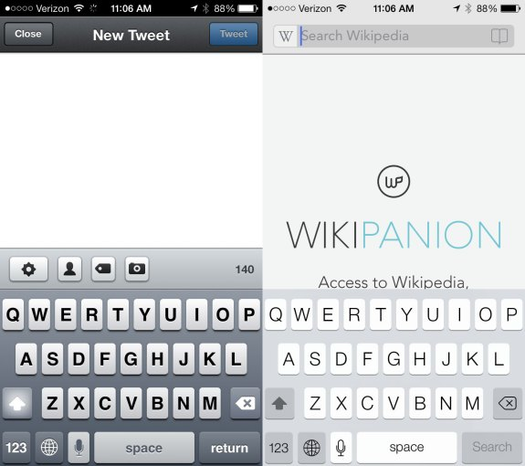 The iOS 6 keyboard shows up in third-party apps on iOS 7 until they are updated.