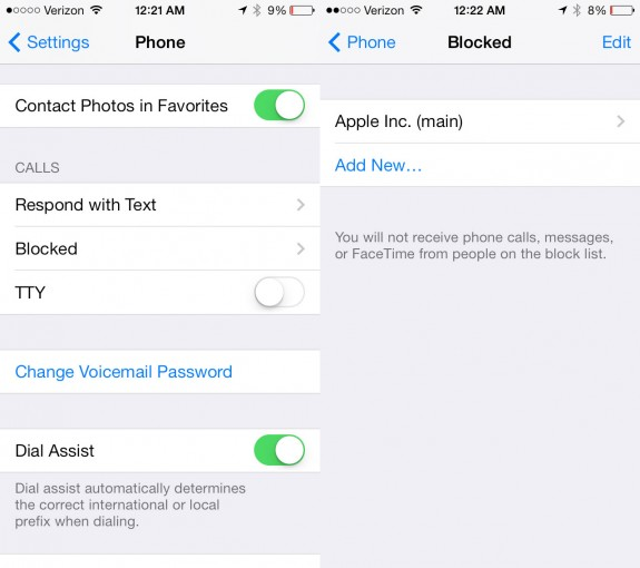 iOS 7 lets users block calls, texts and FaceTime calls.