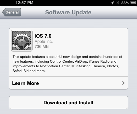 The iOS 7 download is now available.