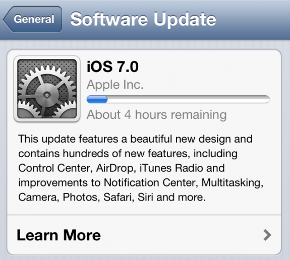 iOS 7 Download Time