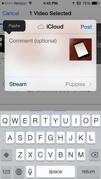 Share videos in Photo Stream on iOS 7.