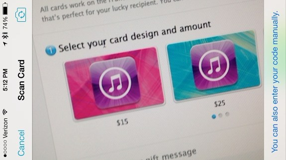 Scan a gift card with iOS 7 to add it to iTunes.