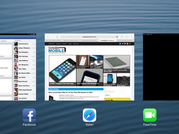 iOS 7 multitasking is at home on the iPad mini.