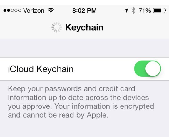 iCloud Keychain in iOS 7 syncs your passwords and credit card info between devices.