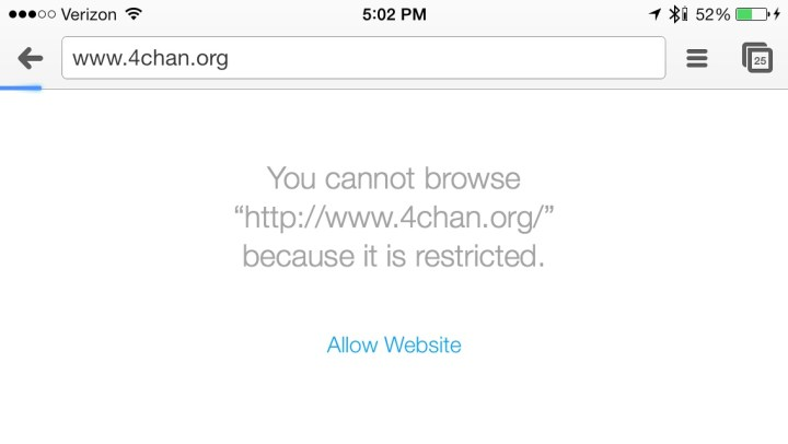 This is what someone will see when they try to visit a blocked site.