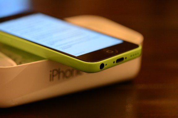 The Apple iPhone 5c in green.