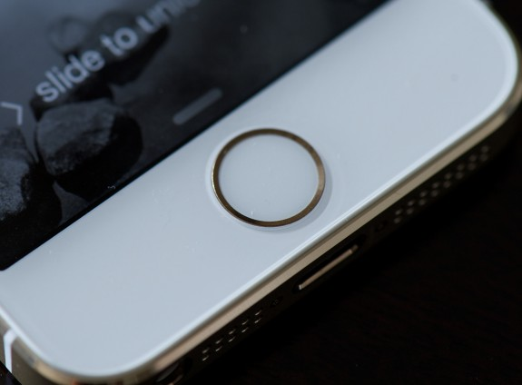 The Touch ID fingerprint reader embedded in the iPhone 5s.