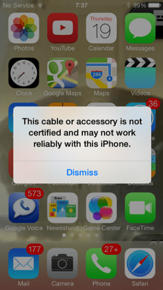 lightning cable warning