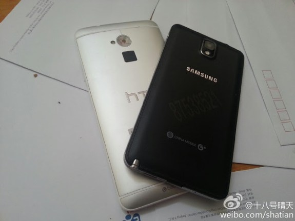 The backs of the Galaxy Note 3 and HTC One max compared.