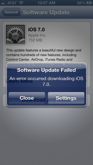 Users trying to install iOS 7 have encountered an error.