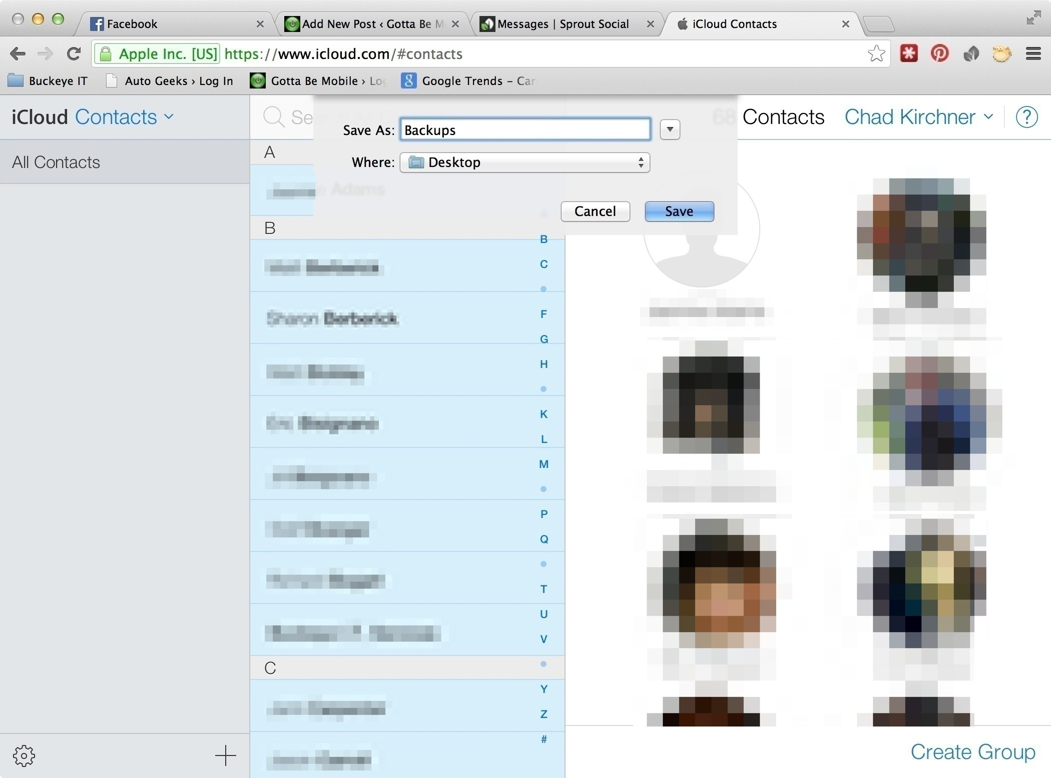 how to save your contacts to google drive