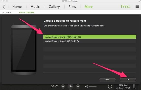 select iphone backup