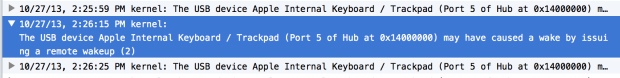 The USB device Apple Internal Keyboard / Trackpad (Port 5 of Hub at 0x14000000) may have caused a wake by issuing a remote wakeup (2)