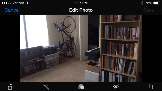 Editing a photo in the regular Photos app in iOS 7