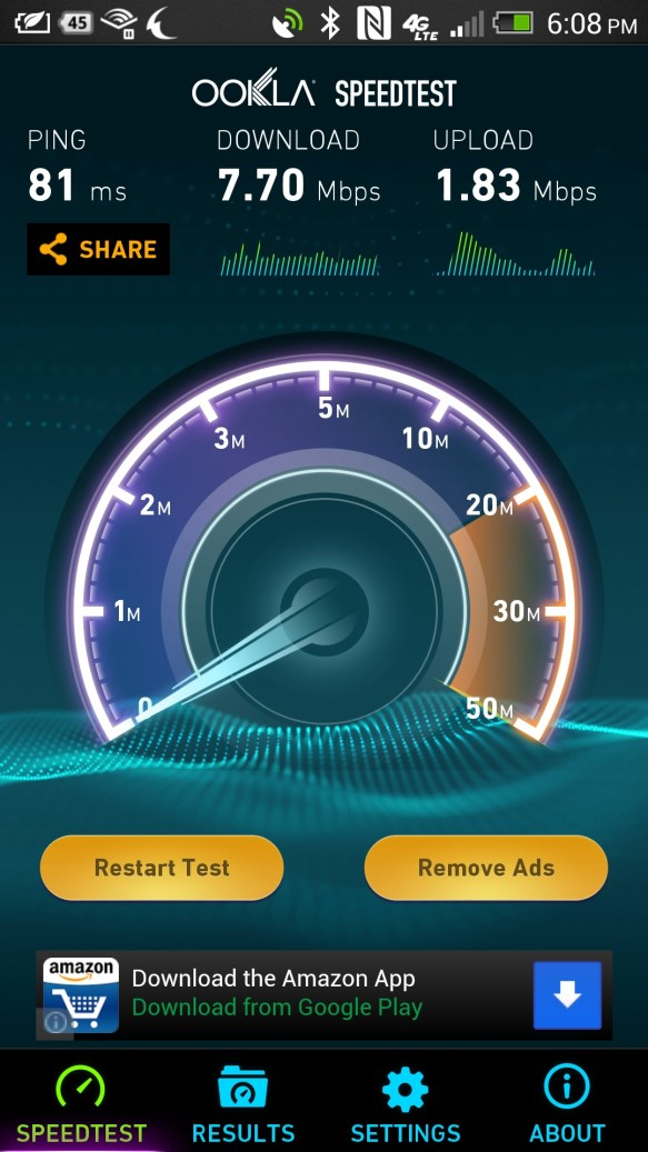 ATT 4G LTE speed test in weak area