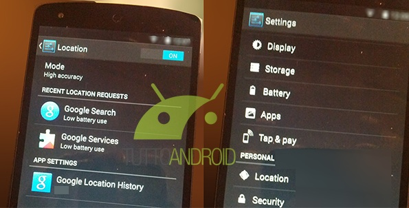 Android 4.4 KitKat on the Nexus 5 shows Tap & Pay, but it's not clear if Google Wallet is coming.
