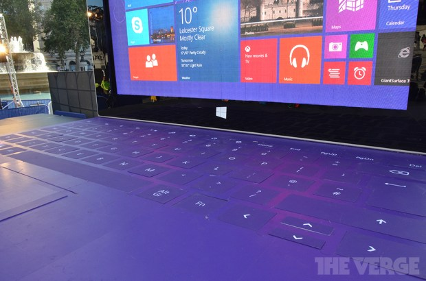 The giant Surface 2, erected in Greater London. Captured by The Verge.
