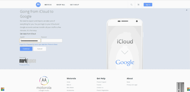 Login to iCloud on the Moto Maker website to switch form iPhone to Moto X easier.