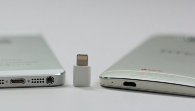 The iPhone 5s uses a Lightning connection and the HTC One uses a Micro USB, but with an adapter the same cable can charge both.