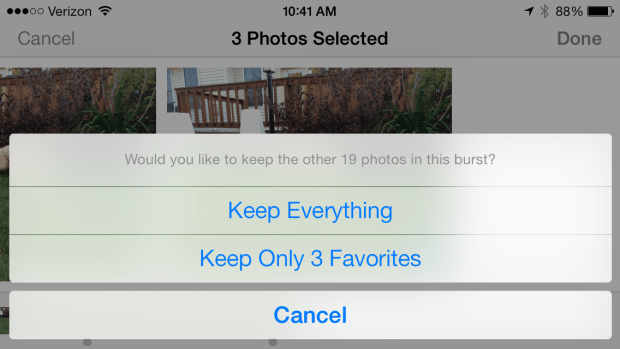 Quickly delete bad photos from a burst mode collection.