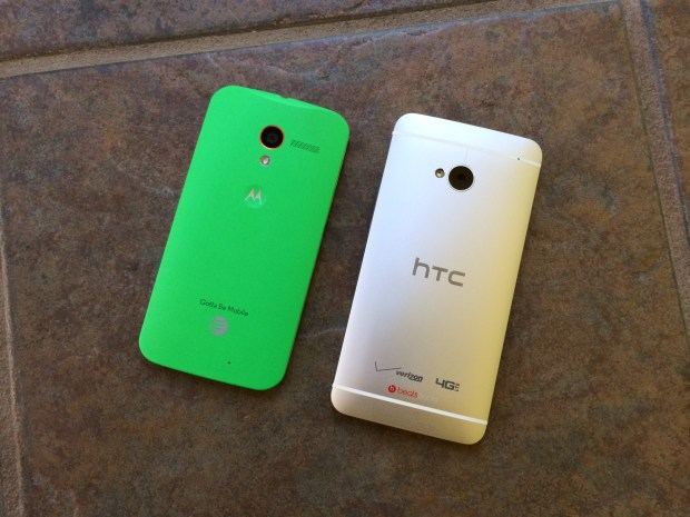 htc one and moto x back