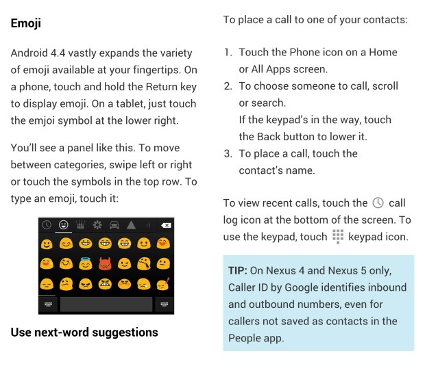 The Android 4.4 KitKat guide highlights many new features.