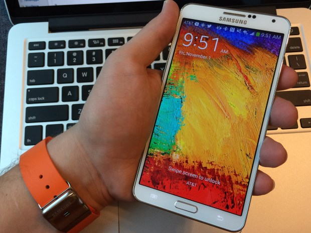 When the Note 3 is in your hand near the Galaxy Gear it can bypass the lock code.