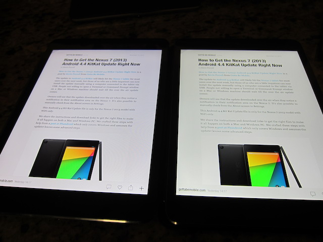 iPad mini with Retina Display on the right